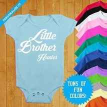 Personalized Baby Onesie Little Brother Onesie Custom Baby Clothes Baby Shower  - $16.00