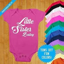Personalized Baby Onesie Little Sister Onesie Custom Baby Clothes Baby Shower  - $16.00