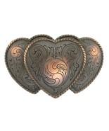 Triple Hearts Antique Copper Decorative Belt Buckle - $9.85