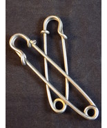 """2 HORSE BLANKET SAFETY PINS 4 Inch & 3 1/4"""" Long Stainless Plated Key Ta... - $9.89"""