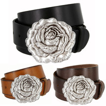 "Womens Antique Silver Rose Buckle Casual Leather Jean Belt, 1-1/2"" Wide - $29.95"