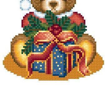 Santa Teddy Bear christmas holiday cross stitch chart Solaria Designs
