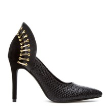Scene by ShoeDazzle Maitlyn Black Gold 6.5 Classic Pumps Elegant work Party - $14.99