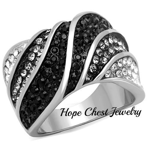 WOMEN'S STAINLESS STEEL BLACK GRAY CLEAR CRYSTAL WIDE BAND FASHION RING SZ 5-10