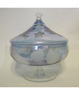 Etched Blue Glass Lidded Compote AS IS - $138.10