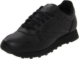 Reebok Women's Classic Leather Running Shoe in Black in Sizes 5 to 12 - $64.74