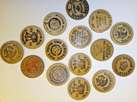 Collectors Assorted Lot of 15 Vintage WOODEN NICKELS Tokens From IA NE M... - $25.60