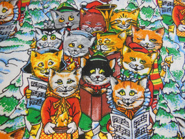 "Christmas Kitties Cats Caroling RJR fashion fabric 77"" X 45"" yardage cotton - $13.45"