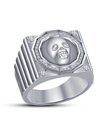 Solid .925 Sterling Silver White Platinum Fn New Fashion Biker Skull Rin... - £69.15 GBP