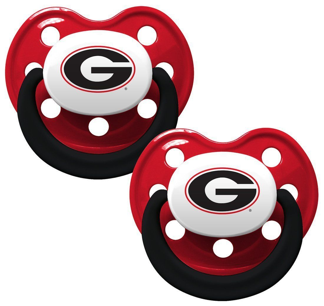 GEORGIA BULLDOGS 2-PACK BABY INFANT ORTHODONTIC PACIFIER SET NCAA