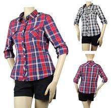 Adjust Slv Check Print Collar SHIRT Pleat Back Summer Back to School Blo... - $15.99