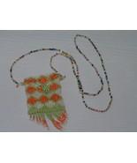 Estate Long Tiny Colorful Bead with Orange Green & Cream Beaded Purse Po... - $13.99