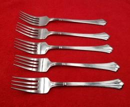 "5 Dinner Forks ~ Dorian by Estia Stainless Flatware Silverware 7 3/8"" * - $34.64"