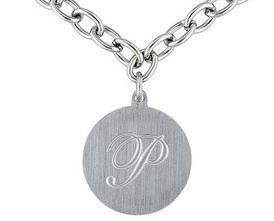 "Stainless Steel Round Initial ""p"" Medallion Oval Link Necklace"