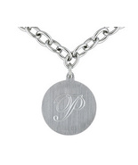 "Stainless Steel Round Initial ""p"" Medallion Ova... - $9.99"