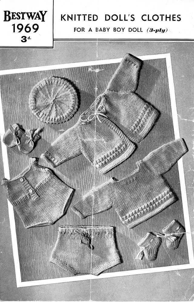 Vintage knitting pattern for baby boy dolls clothes. Bestway 1969. PDF Bestway