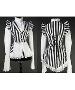 Black White Striped Victorian Gothic Corset Back Vest Beetlejuice Waistcoat - $64.32