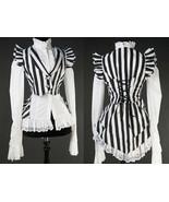Black White Striped Victorian Gothic Corset Back Vest Beetlejuice Waistcoat - $64.99
