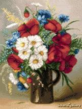 Small Bouquet of Poppies and Daisies floral cross stitch chart Solaria D... - $8.00