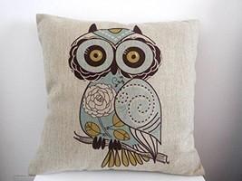 Cotton Linen OWL Square Throw Pillow Case Decor... - $13.27
