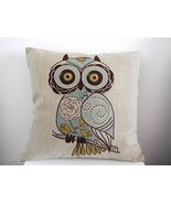 Cotton Linen OWL Square Throw Pillow Case Decor... - £10.25 GBP
