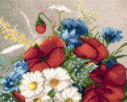 Small Bouquet of Poppies and Daisies floral cross stitch chart Solaria Designs