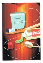 Modern Dental Advertising Postcard Toothpaste Tooth Brushes Floss Appt Card - $4.99