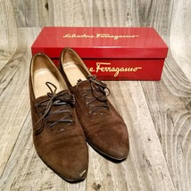 Salvatore Ferragamo Womens Ramato Sz 8 Brown Suede Calf Lace up Pumps w/... - $39.99