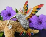Hummingbird bird brooch pin rhinestones enamel colorful large goldtone thumb155 crop