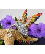 Hummingbird Bird Brooch Pin Rhinestones Enamel Large Colorful Goldtone - £14.44 GBP