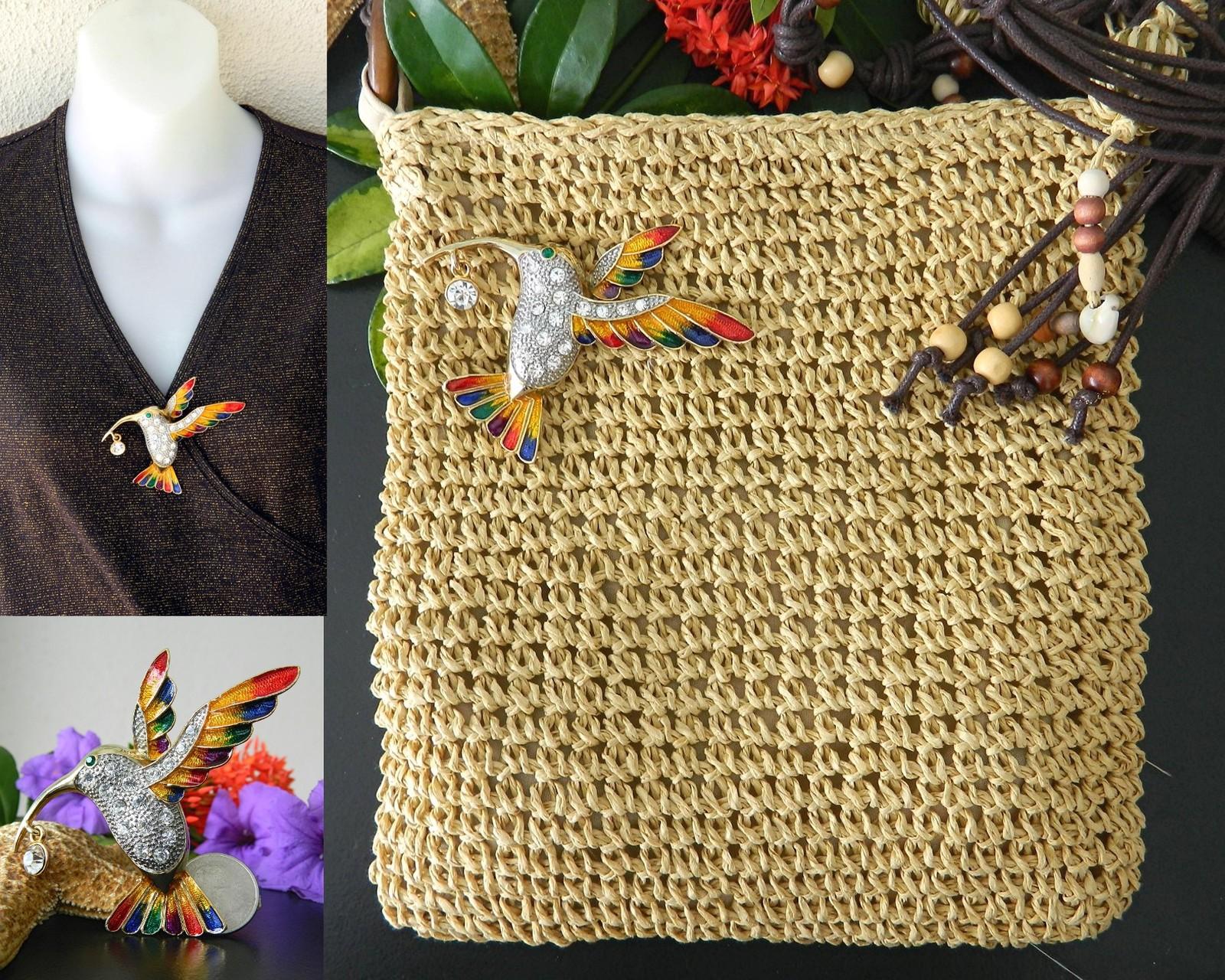 Hummingbird Bird Brooch Pin Rhinestones Enamel Large Colorful Goldtone
