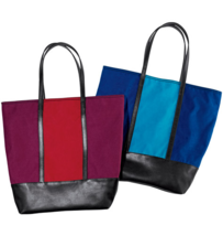 Tote with Matching Scarf - Color Block Blue  - $43.21 CAD