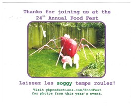 24th Annual Food Fest Postcard 2008 Let the Soggy Times Roll Thank you - $4.99