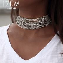 17KM® Multiple Layers Rhinestone Crystal Choker Necklace For Women Bijou... - $6.67