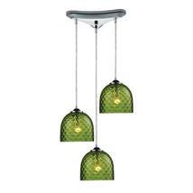 Elk Lighting 31080/3GRN Viva 3-Light Green Pendant in Polished Chrome - $436.00