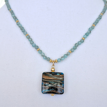 Genuine Murano Glass pendant and Apatite Neckla... - $34.00