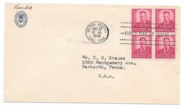FDC Canal Zone 1949 Sc# 138 Theodore Roosevelt 2c Blk of 4 Hotel Tivoli ... - $4.99