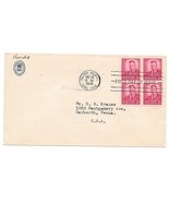 FDC Canal Zone 1949 Sc# 138 Theodore Roosevelt 2c Blk of 4 Hotel Tivoli ... - £3.86 GBP
