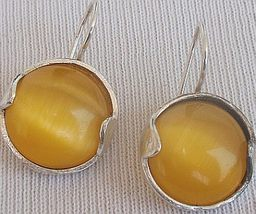 Yellow round earrings  - $30.00