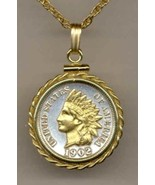 U.S. Indian head penny coin pendant & 14k necklace - $102.00