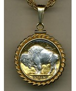 "Buffalo nickel ""Sacred White Buffalo""  pendant & 14k necklace - $107.00"