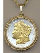 U.S. Morgan Silver dollar gold on silver coin pendant necklace - $267.00