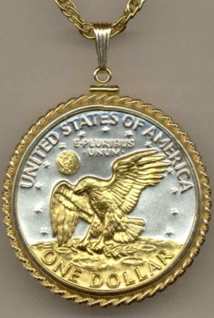 Eisenhower dollar (reverse)  coin pendant & 14k necklace