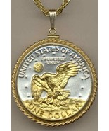 Eisenhower dollar (reverse)  coin pendant & 14k necklace - $130.00