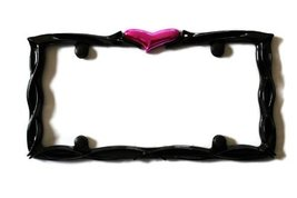 Heart Glossy Black Pink High Quality License Pl... - $9.89
