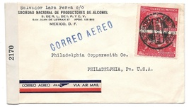 Mexico Censored WWII Cover Commercial to US Airmail Sc C81 Examiner 2170... - $6.69