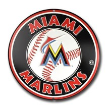Miami Marlins 12 inch Baseball Style Metal Circ... - $10.88