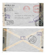 Brazil Censored Cover Via Panair WWII Commercial to US Double Censor Rio... - $9.95