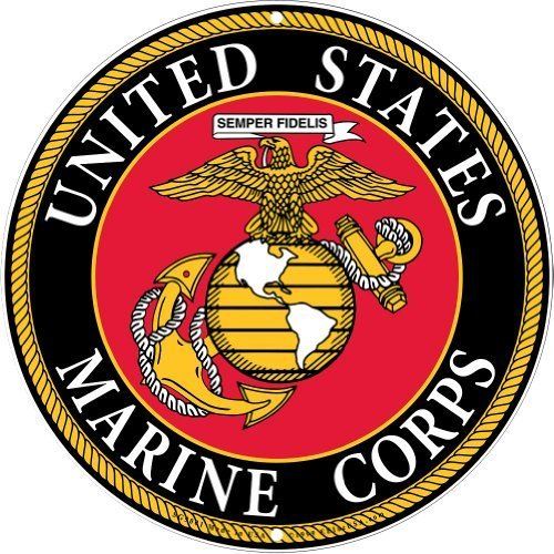 USMC Military Logo Aluminum Sign - Marines Service Branch Home Wall Decor