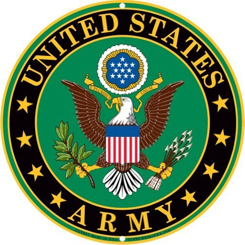 Army Military Logo Aluminum Metal Sign - US Service Branch Home Wall Decor